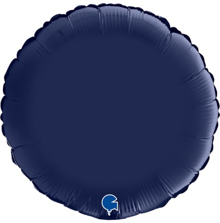 Folieballong Rund Satin - blue navy, 46 cm