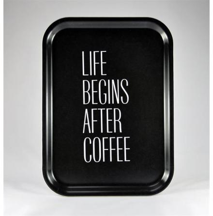 Bricka - Life begins after coffee, svart