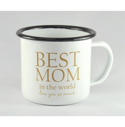 Emaljmugg - Best mom, vit