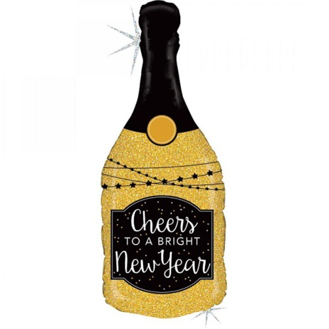 Folieballong Cheers new year, champagneflaska