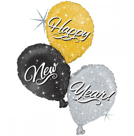 Folieballong Happy new year trio.