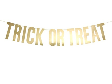 Banner - Trick or treat, guld