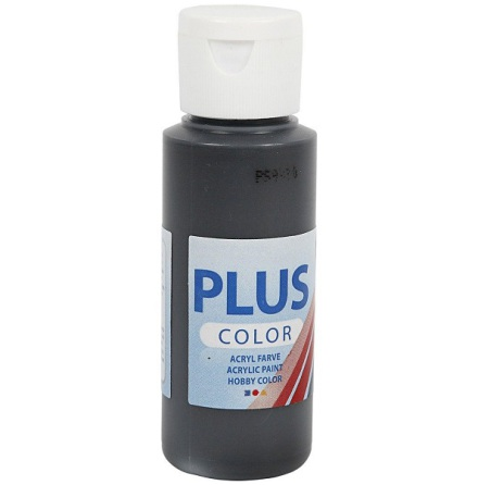 Hobbyfärg Plus color - svart, 60 ml