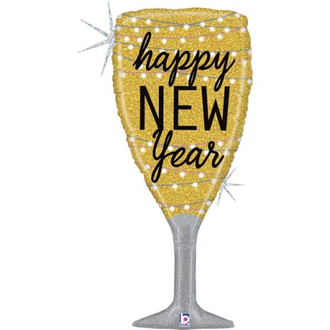 Folieballong - Champagneglas Happy new year